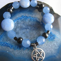 """Light Blue Pentacle Charm Bracelet (50)   6 1/2"""", magickal, wiccan, witch, spiritual, Pagan Poetry Collection, unique visions by jen"""