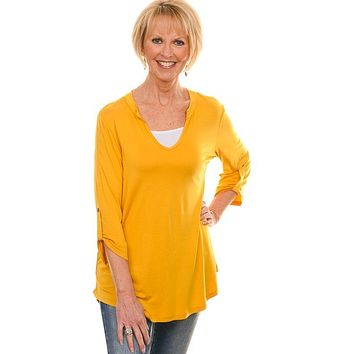 Mustard 3/4 Rolled Sleeve Blouse