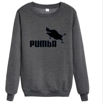 PUMBA Fashion Hip-hop personality trend hip hop into round collar Sweater White