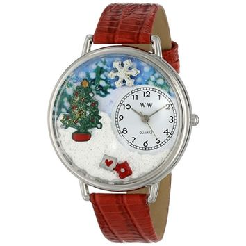 SheilaShrubs.com: Unisex Christmas Tree Red Leather Watch U-1220002 by Whimsical Watches: Watches