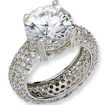 Sterling Silver Cubic Zirconia Pave Ring by Cheryl M