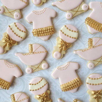 Pink & Gold Decorated Baby Cookies - One Dozen Decorated Sugar Cookies - Perfect for Baby Showers