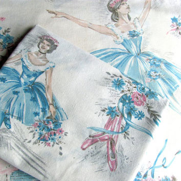 Vintage Drapery Panels Two Cotton Pink And Blue Ballet Dancers Ballerinas For Window or Shower Curtain Childrens Decor Bedroom Bathroom