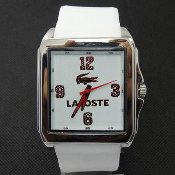 DCCKJ1A Lacoste tide brand fashion men and women stylish exquisite watches F-SBHY-WSL White + silver case + red number dial