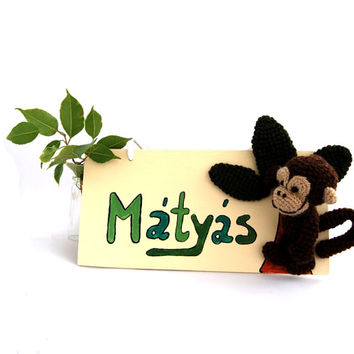 custom name sign MONKEY, personalized door name sign, green, children's room decor, nursery decoration, jungle door art, wooden door plaque