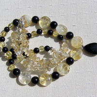 "Citrine & Black Onyx Crystal Gemstone Necklace - ""Lemon Fizz"" - Special Offer Price"
