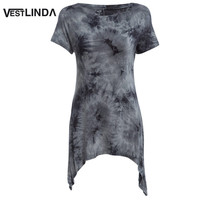 VESTLINDA Summer Casual Tops Tees Ladies Short Sleeve T Shirt Women Ombre Asymmetric Long T-Shirt Dress Cotton Female Clothes