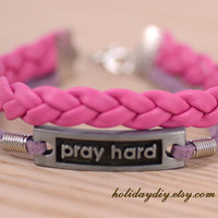 Hand-woven pink leather bracelet,Silver tone pray hard sign charm Lavender bracelet,with gift box,IB068