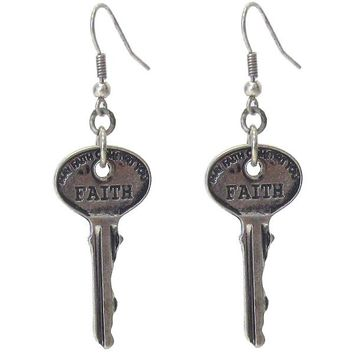 Handstamped Faith Key Pendant Earrings