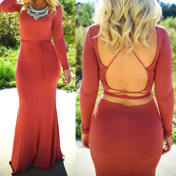 SEXY PURE COLOR BACKLESS DRESS
