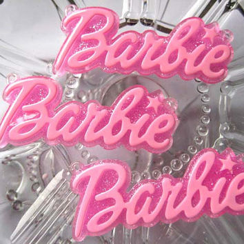 64 x 27mm Baby Pink Barbie Letter with Glitter Pink Background Pendant Charms, 3pc