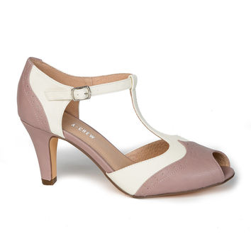 Final Sale - Giselle T-Strap Heel in Pink and White