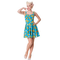Hell Bunny Sunrise Mini Dress (Blue) | Blue Banana UK