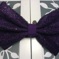 Purple and black lace fabric hair bow - holiday hair accessories - wedding hair accessories - lace bow for teens little girls toddlers