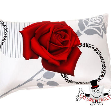 3D Red Rose Sexy Leopard Stripe Pillowcase