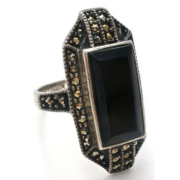 Black Onyx Ring by Judith Jack Sterling Silver