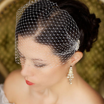 Birdcage Veil with Crystal combs and rhinestone edge, Bandeau Bird cage Veil, Wedding Veil Rhinestones, Bridal Veil - The Merle Veil