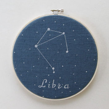 Hoop Art , Zodiac constellations, Libra, Hand painted, Astrology, Constellations