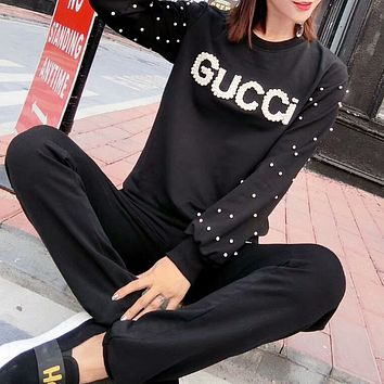 GUCCI letter set beads long sleeves beads + elastic waist trousers casual sports suit