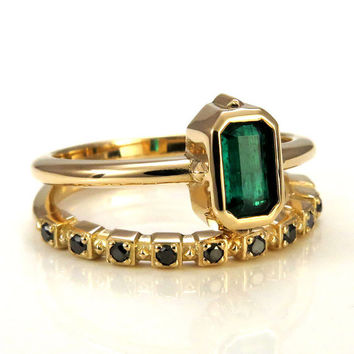 Emerald Cut Emerald Solitaire with Black Diamond Side Band - 18k Yellow Gold - Gothic Engagement Ring Set