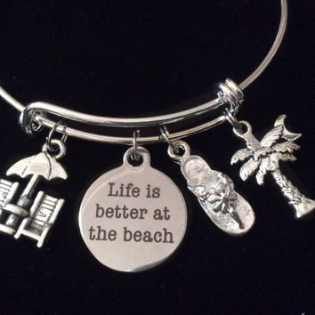 Life is Better at the Beach Expandable Silver Charm Bracelet Flip Flop Palm Tree Adjustable Bangle Gift Trendy Stacking