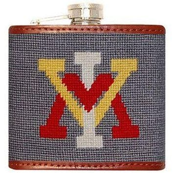 Virginia Military Institute Needlepoint Flask in Gray by Smathers & Branson