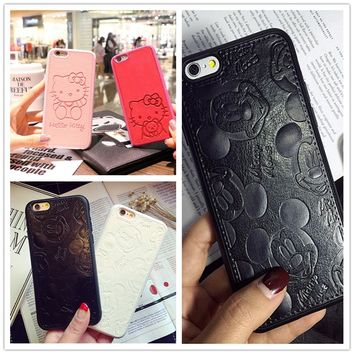 High Quality Pu Leather cute 3D Mickey Minnie Mouse case for iphone 6 6s 6plus 7 7plus 8 plus 8plus Lovers phone cases cover