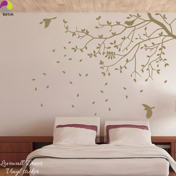120cmx88cm Large Size Tree Bird Wall Stickers Bedroom Room Branch Leaves Animal Plant Wall Decal Vinyl Home Decor Art Mural