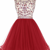 Real 2016 Sexy Open Back Red A-line Short Homecoming Dresses Sleeveless Sparkly Beaded Backless Girls Prom Cocktail Dresses