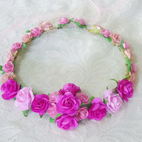 Pink rose crown pink tones rose/ Angel head dress/ Beach crown/ Boho/ Fairy crown/Romantic flower crown