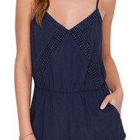 Navy Spaghetti Strap Backless Romper