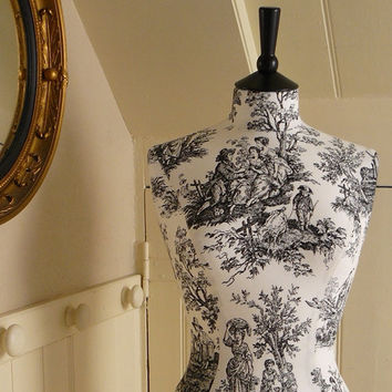 French Inspired Toile de Jouy Display Mannequin Dressform