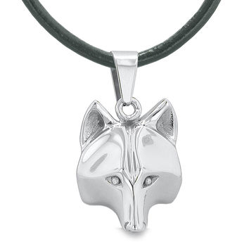 Amulet Wolf Courage and Self Confidence Powers Wise Head Pendant on 18 Inch Leather Cord Necklace