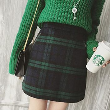 free shipping high waist fake pockets back zipper england style plaid mini skirt women winter fashion woolen slim A-line skirt