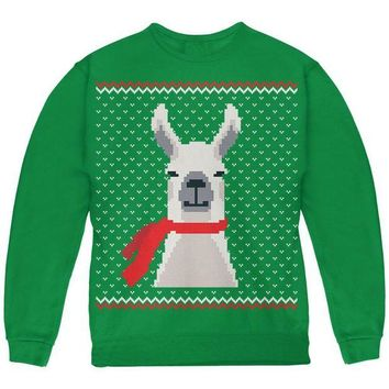 ONETOW Ugly Christmas Sweater Big Llama Green Youth Sweatshirt