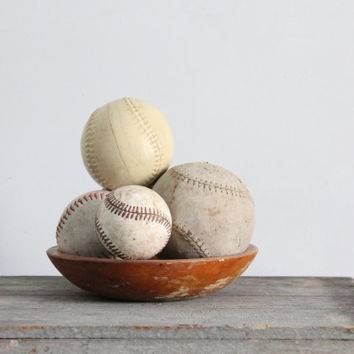 vintage collection of old baseballs / photography prop