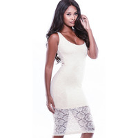 White Floral Lace Bodycon Dress  10727