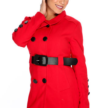 Red Double Breasted Belted Trench Coat