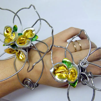 Mexican Tulipanes flower set , statement art jewelry , flower inspired cuff and ring set , huge wire wrapped jewelry original art