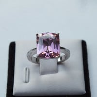 Silver Vintage Ring With Large Pink Colored Stone, Size 6, Silver 925