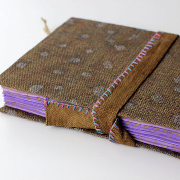 Fabric Journal, diary, notebook, old paper, batik fabric, blank book, travel journal