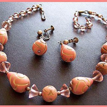Pink Galalith Necklace Earring Set Pink Dusty Rose Carved French Bakelite Crystal Beads Vintage