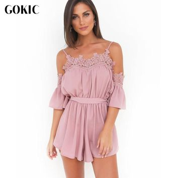 GOKIC Women Rompers 2017 New Summer Off Shoulder Playsuits Jumpsuits Solid pink Lace Playsuit Party Jumpsuit Combinaison Femme