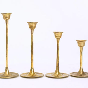 Vintage Graduated Brass Candle Holders, Set of 4 Modern Brass Stair Step Candlesticks, Mid Century Decor