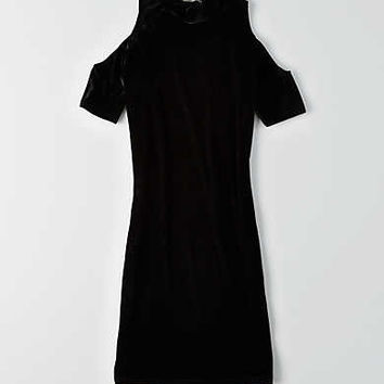 Don't Ask Why Velvet Cold Shoulder Dress, Black