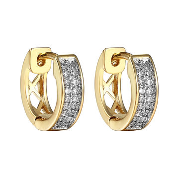 Hoop Huggie Earrings 14k Gold Finish Clip On Simulated Diamonds