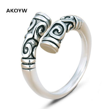 New Lady fashion black retro Thai silver ring size adjustable ring opening couple unisex silver jewelry products