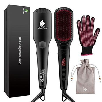 2 in 1 Ionic Hair Straightener Brush with Heat Resistant Glove and Temperature Lock Function (Black)