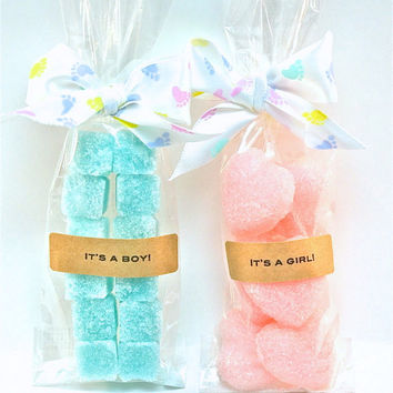 25 Baby Shower Favors - Flavored Sugar Cubes Mini Bags, Tea Party, Wedding, Baby and Bridal Shower