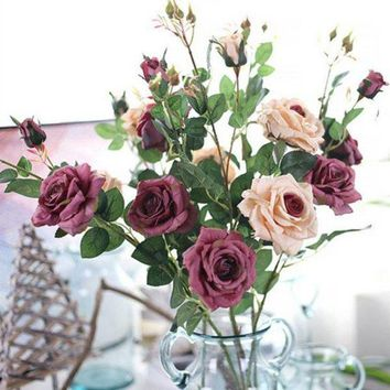 LMFMS9 Artificial Fall Roses Fake Leaf Flowers Home Wedding Decoration Flowers Home Ornament Accessories E2S